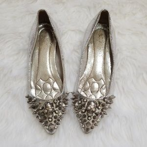 Alexander McQueen Spiked Skull Pointed Toe Flats